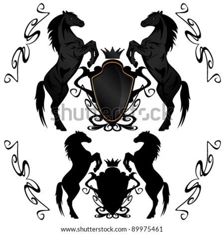 heraldic shields with black stallions - vector illustration - stock vector