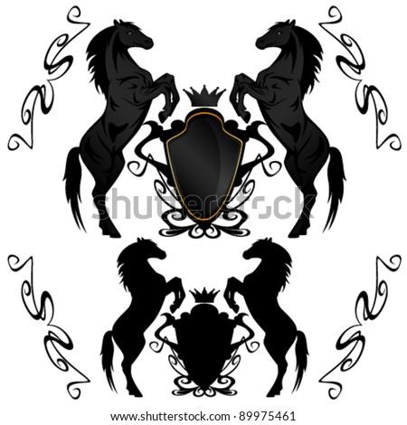 heraldic shields with black stallions - vector illustration - stock vector