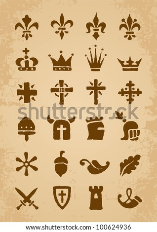 Heraldic symbols in the Romanesque style in the old paper - stock vector