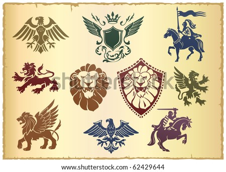 Heraldic vector set with lion, eagle and ornate - stock vector