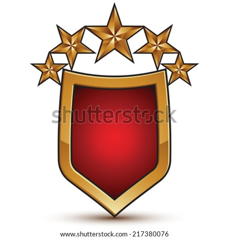 Heraldic vector template with five glossy golden stars, dimensional royal geometric shield shaped medallion isolated on white background. Festive holiday emblem.