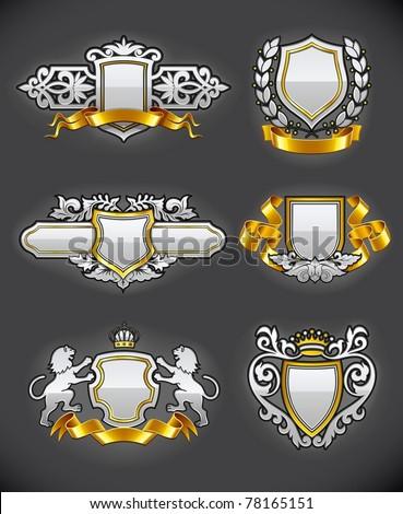 heraldic vintage emblems set silver and gold vector illustration - stock vector