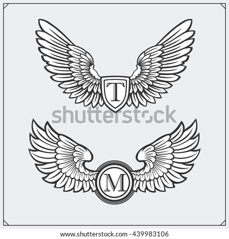 Heraldic wings set. Design elements. Vector illustration.