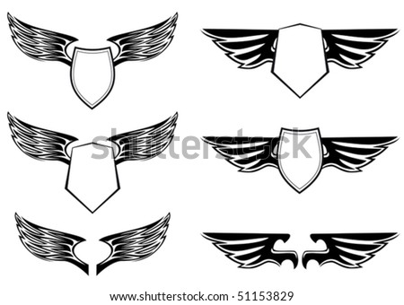 Heraldic wings with shields for design isolated on white. Jpeg version also available in gallery - stock vector