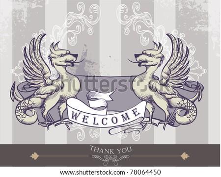 heraldic with wings - stock vector