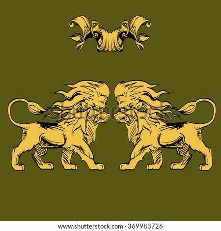 heraldry background for the logo, emblem, lion and shield cloth, crown decorative background decorative elements in vintage style for decoration layout, framing, for advertising, vector illustration - stock vector