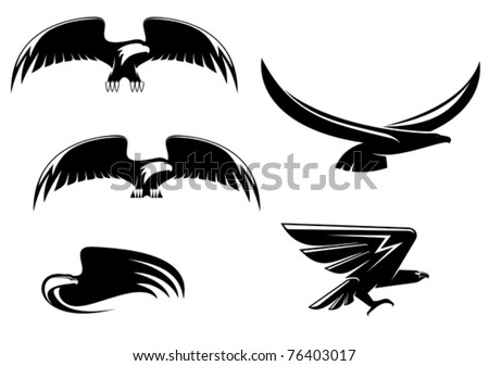 Heraldry eagle symbols and tattoo isolated on white. Jpeg version also available in gallery - stock vector