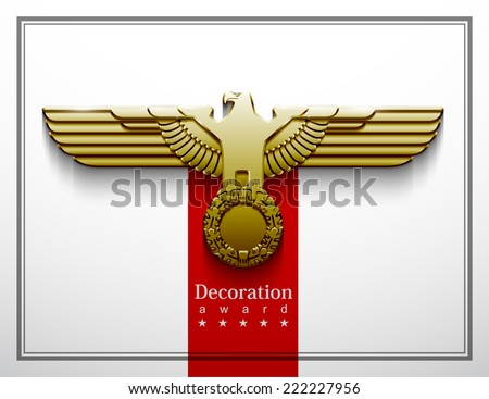 heraldry eagle wings vector Imperial isolated silhouette oak wreath parteiadler  power force strength vigour greatness gold glossy freedom captain protect war badge patriotic army sticker honor Abwehr - stock vector