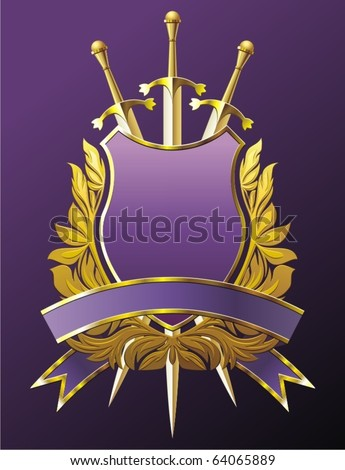 Heraldry emblem with crown, shield and three swords