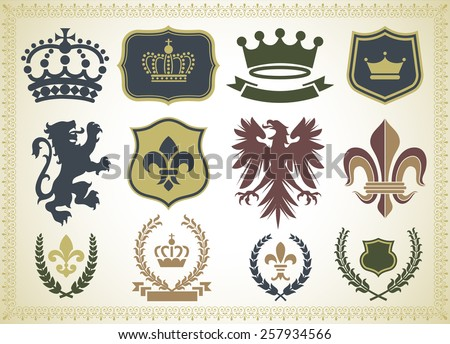 Heraldry Ornaments - Vector Heraldry Ornaments Isolated on a gradient Background. - stock vector