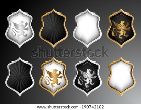 Heraldry Shields Set. Vector  - stock vector