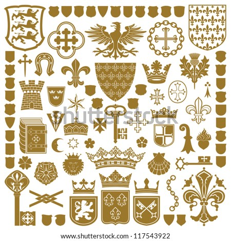 HERALDRY Symbols and decorations - stock vector