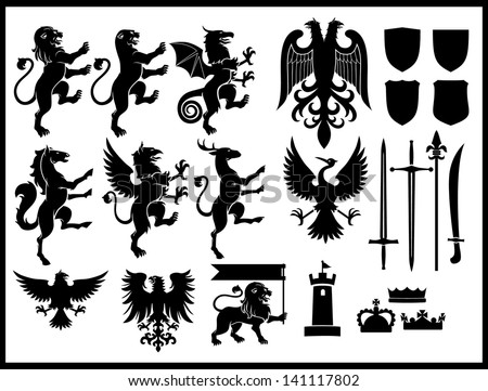 heraldry vector set - stock vector