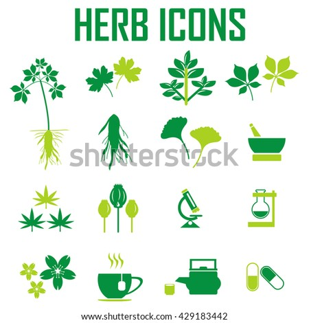 herb icons, mono vector symbols - stock vector