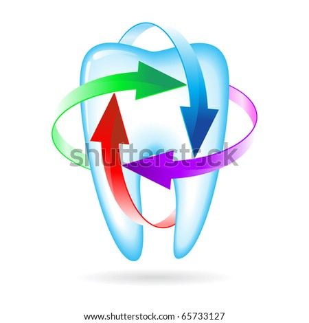 Herbal and fluoride protection icon of a tooth - stock vector
