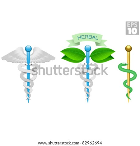 Herbal caduceus, Rod of Aesculapius, Medical icons, snake, rod and wings - stock vector