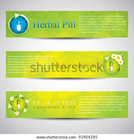 Herbal pill.Environment elements - stock vector