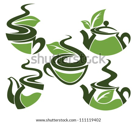 herbal tea, vector collection of cups and tea pots full of organic drinks