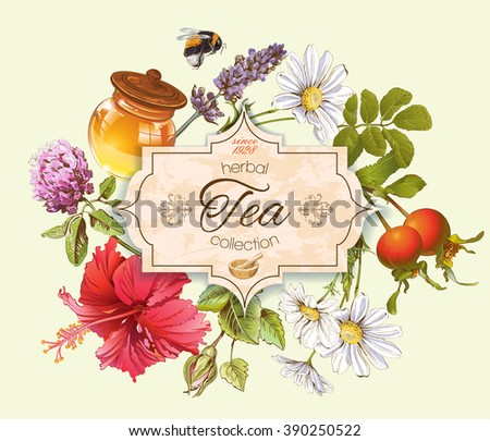 Herbal tea vintage banner with honey, rose hip and hibiscus flower.Design for tea, honey, herbal cosmetics, store, grocery, health care products. Can be used as logo design. Vector illustration. - stock vector