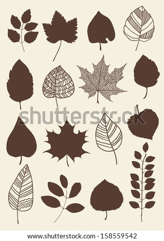 Herbarium of the different red leaves - stock vector