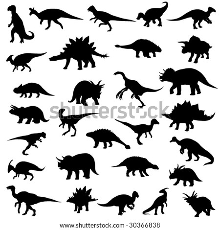 Herbivorous dinosaurs of Jurassic Park - stock vector