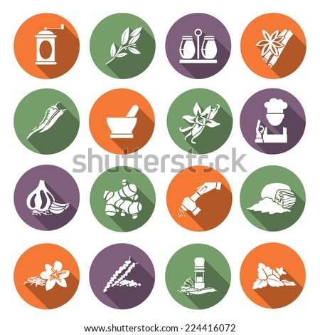 Herbs and spices flat icons set of chef cook culinary ingredients isolated vector illustration - stock vector