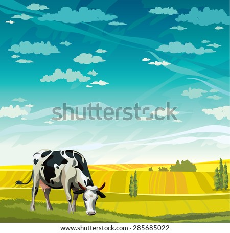 Herd of cows in green field on a blue sky. Vector rural nature landscape. - stock vector