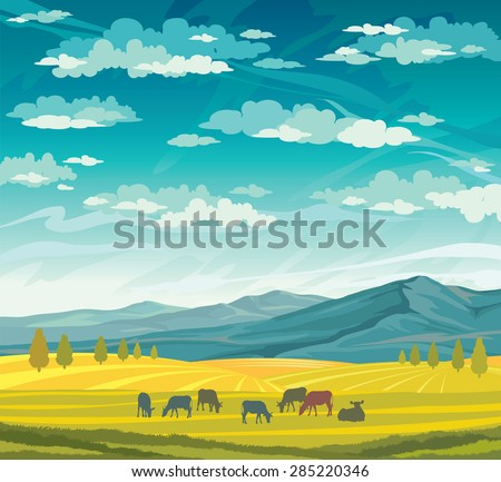 Herd of cows in green meadow on a blue cloudy sky. Vector of rural summer landscape. - stock vector
