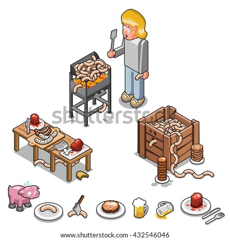 Hero BBQ cook at his grill, various barbecue items, beer and a scared pig (illustration set) - stock vector