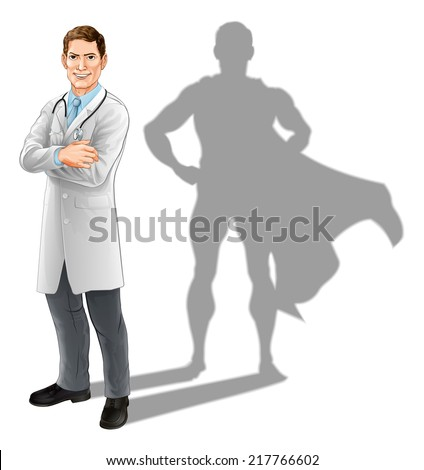 Hero doctor concept, illustration of a confident handsome doctor standing with his arms folded with superhero shadow - stock vector