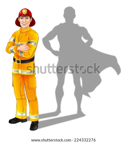 Hero fireman concept, illustration of a confident handsome firefighter or fire officer standing with his arms folded with superhero shadow - stock vector