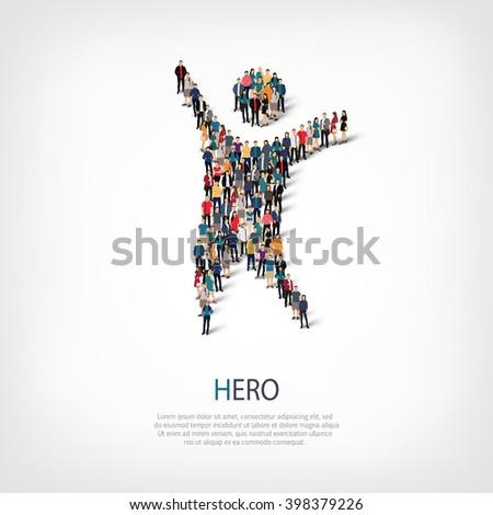 hero people crowd - stock vector