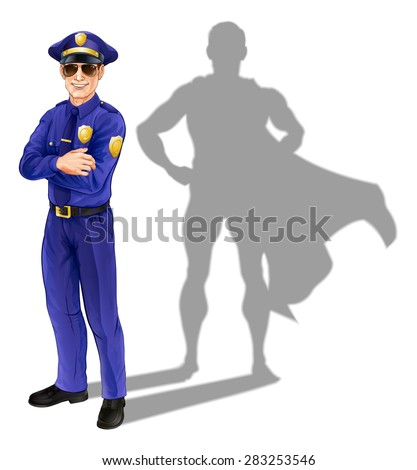 Hero policeman concept. A conceptual illustration of a policeman standing with his shadow in the shape of a superhero - stock vector