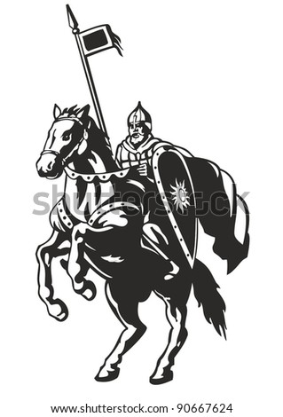hero russian on horseback with shield and spear - stock vector