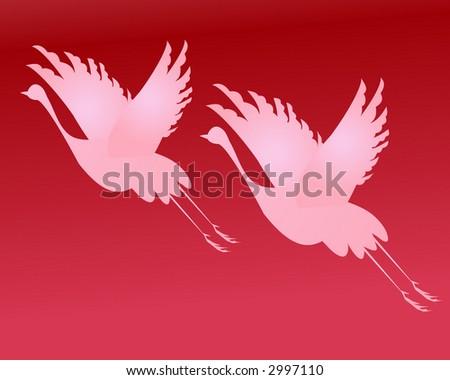 Heron birds in flight vector - stock vector