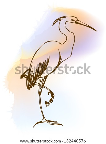 heron color vector - stock vector
