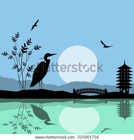 Heron silhouette on river at beautiful asian place, vector illustration - stock vector