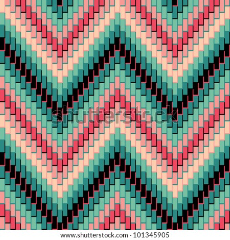 Herringbone Pattern in green and pink repeats seamlessly. Colors are grouped for easy editing.