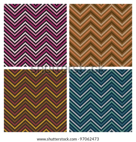 Herringbone Tweed dimensional seamless pattern in four colorways. Colors are grouped for easy editing. - stock vector