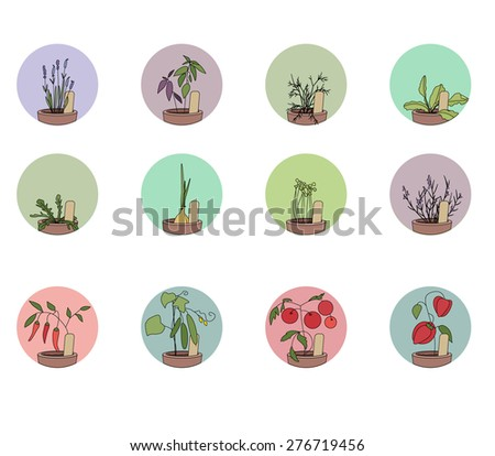 Hers and vegetables. Set of round icons - stock vector