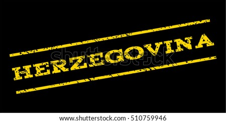 Herzegovina watermark stamp. Text tag between parallel lines with grunge design style. Rubber seal stamp with dirty texture. Vector yellow color ink imprint on a blue background.