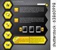 Hexa yellow web template - stock vector