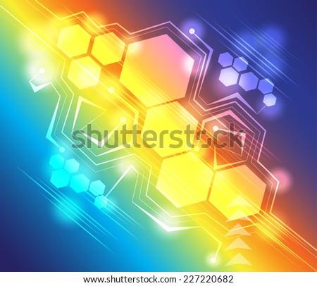 Hexagon abstract background technology vector - stock vector