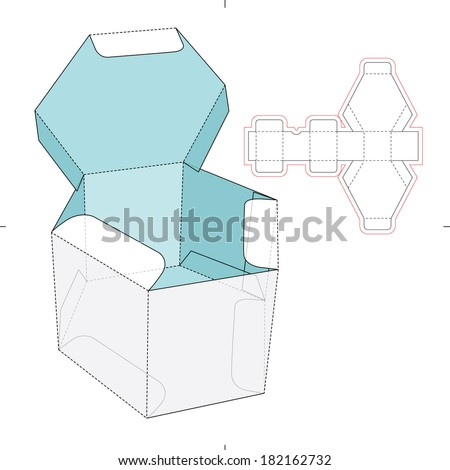 Hexagon Box with Flip-flop Lid and Die-cut Pattern  - concept - stock vector