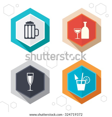 Hexagon buttons. Alcoholic drinks icons. Champagne sparkling wine and beer symbols. Wine glass and cocktail signs. Labels with shadow. Vector - stock vector