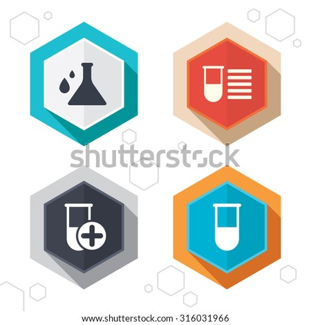 Hexagon buttons. Chemistry bulb with drops icon. Medical test signs. Laboratory equipment symbols. Labels with shadow. Vector - stock vector