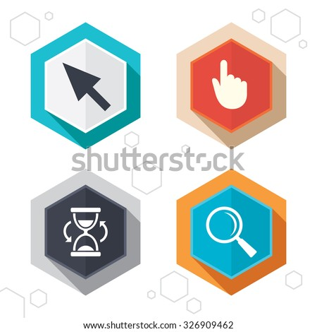 Hexagon buttons. Mouse cursor and hand pointer icons. Hourglass and magnifier glass navigation sign symbols. Labels with shadow. Vector - stock vector