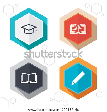 Hexagon buttons. Pencil and open book icons. Graduation cap symbol. Higher education learn signs. Labels with shadow. Vector