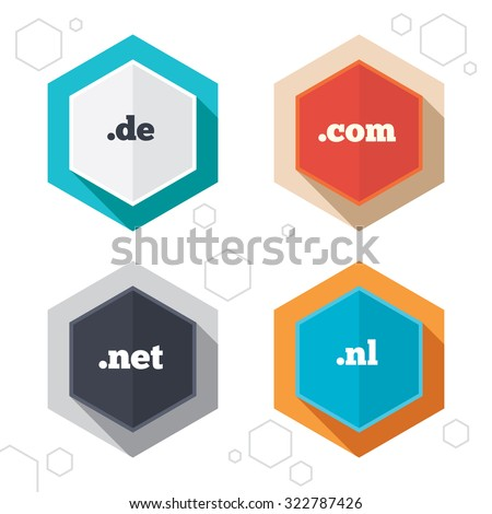 Hexagon buttons. Top-level internet domain icons. De, Com, Net and Nl symbols. Unique national DNS names. Labels with shadow. Vector - stock vector