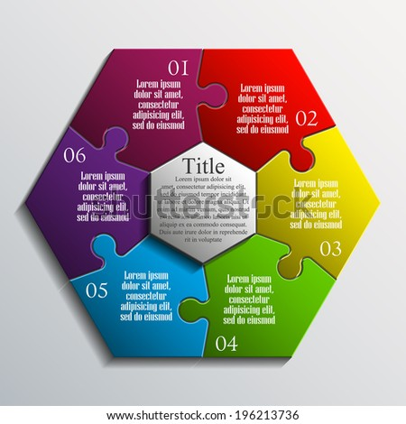hexagon 3d puzzle presentation infographic template with explanatory text field for business statistics - stock vector